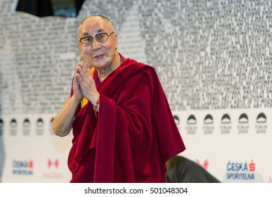 PRAGUE, CZECH REPUBLIC - OCTOBER 19, 2016: His Holiness the 14th Dalai Lama Tenzin Gyatso. Lecture - Secular Ethics FORUM 2000, OCTOBER 19, 2016 PRAGUE