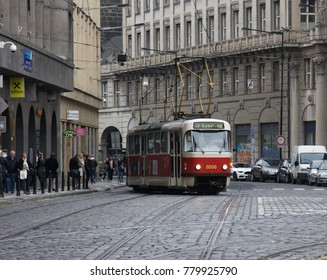 Prague, Czech Republic - October 19, 2017: old classic tram eco-friendly electric public transport in capital
