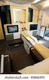 PRAGUE, CZECH REPUBLIC - OCTOBER 2: first-ever arrival of the largest passenger aircraft today, Airbus A380, to the Airport Prague on October 2, 2011. First class luxury seat.