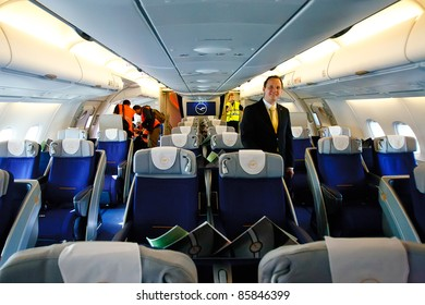 PRAGUE, CZECH REPUBLIC - OCTOBER 2: first-ever arrival of the largest passenger aircraft today, Airbus A380, to the Airport Prague on October 2, 2011. Business Class section.