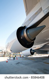 PRAGUE, CZECH REPUBLIC - OCTOBER 2: first-ever arrival of the largest passenger aircraft today, Airbus A380, to the Airport Prague on October 2, 2011. Detail of the left Rolls-Royce engine.