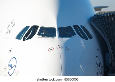 PRAGUE, CZECH REPUBLIC - OCTOBER 2: first-ever arrival of the largest passenger aircraft today, Airbus A380, to the Airport Prague on October 2, 2011. Detail of the nose and cockpit windows.