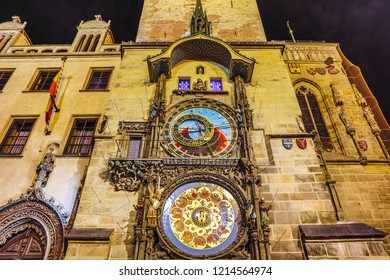 PRAGUE, CZECH REPUBLIC - OCTOBER 21, 2018: The Prague Astronomical Clock, or Prague Orloj is a medieval astronomical clock located in Prague. Representing the position of the Sun and Moon in the sky.