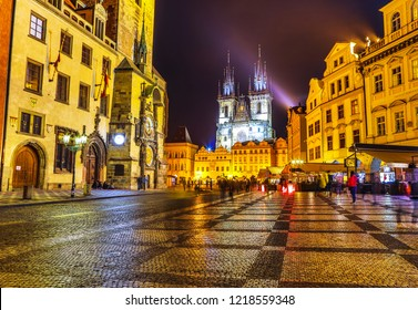 PRAGUE, CZECH REPUBLIC - OCTOBER 21, 2018: Night autumn Prague. Popular cityscapes after dark.