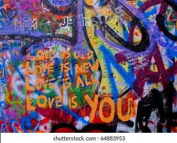 PRAGUE, CZECH REPUBLIC - OCTOBER 21: The Lennon Wall since the 1980s filled with John Lennon-inspired graffiti and pieces of lyrics from Beatles songs on October 21, 2010 in Prague, Czech Republic
