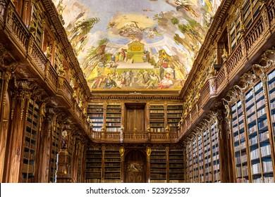 Prague, Czech Republic - October 23, 2016: Historical library of Strahov Monastery in Prague, Philosophical Hall, Czech Republic