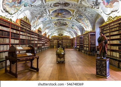 Prague, Czech Republic - October 23, 2016: Historical library of Strahov Monastery in Prague, Theological Hall