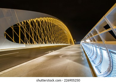 PRAGUE, CZECH REPUBLIC - OCTOBER 24: New Trojan bridge at night on October 24, 2014. Trojan bridge is a part of tunnel complex called Blanka. - Shutterstock ID 226905250