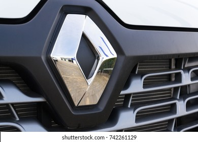 PRAGUE, CZECH REPUBLIC - OCTOBER 25: Renault company logo on car on October 25, 2017 in Prague. Renault beat expectations when sales jumped 15.9 per cent in the third quarter.
