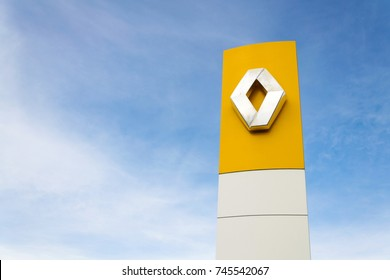 PRAGUE, CZECH REPUBLIC - OCTOBER 25: Renault company logo in front of dealership building on October 25, 2017 in Prague. Renault beat expectations when sales jump 15.9 per cent in the third quarter.