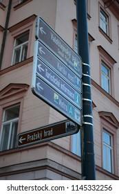 Prague, Czech Republic, October 26, 2017: Tourist sights direction. Photo is taken near Prague Castle. No Photoshop used.