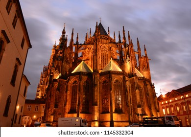 Prague, Czech Republic, October 26, 2017: Night view of St. Vitus Cathedral, Prague Castle one of the most popular tourist destination. No Photoshop used.