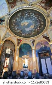 PRAGUE, CZECH REPUBLIC/ October 26, 2013: Fresco in Art Nouveau style by Alphonse Mucha in Primator Hall, Municipal House.