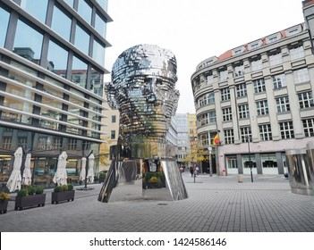 PRAGUE, CZECH REPUBLIC - OCTOBER 27: The statue of rotating metal head of the writer Franz Kafka by David Cerny outside the Quadrio shopping centre, Prague, Czech Republic on October 27, 2018.