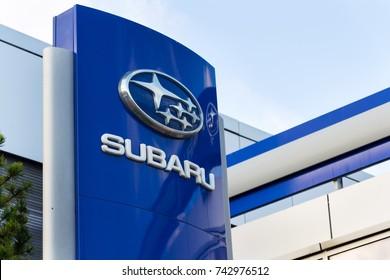 PRAGUE, CZECH REPUBLIC - OCTOBER 27: Subaru company logo on dealership building on October 27, 2017 in Prague. Subaru admits it allowed unauthorised technicians to inspect vehicles.
