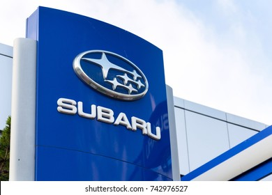 PRAGUE, CZECH REPUBLIC - OCTOBER 27: Subaru company logo on dealership building on October 27, 2017 in Prague. Subaru admits it allowed unauthorised technicians to inspect vehicles.