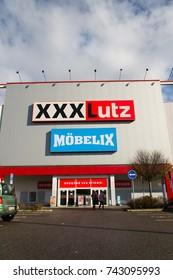 PRAGUE, CZECH REPUBLIC - OCTOBER 27: XXXLutz Mobelix corporation logo on supermarket building on October 27, 2017 in Prague.