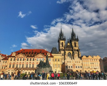 Prague, Czech Republic - October 3, 2017: Sunny day at Old Town Square