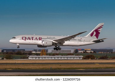 PRAGUE, CZECH REPUBLIC - OCTOBER 31: Boeing 787-8 of Qatar Airways land at PRG Airport in Prague on October 10, 2018. Qatar Airways, is the state-owned flag carrier of Qatar
