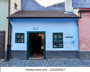 Prague, Czech Republic - October 31, 2018 Front view of the house used by the Czech writer Franz Kafka located at number 22 in Golden Lane Street.  Franz Kafka wrote part of his stories in this house.