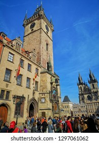 PRAGUE, CZECH REPUBLIC - October 6, 2018: The Prague Astronomical Clock tower, is a medieval astronomical clock located in Prague. The clock was first installed in 1410.