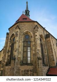 Prague, Czech Republic - October 6th, 2018: Church of St. Salvator (Czech: Kostel Sv. Salvátora) is one of two churches in the Klementinum, in Old Town, Prague, Czech Republic.