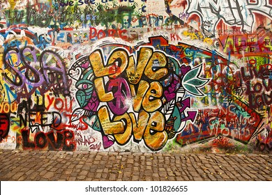 PRAGUE, CZECH REPUBLIC - OCTOBER 7: A section of the Lennon Wall in Prague on October 7, 2010. This landmark wall is open to public graffiti in remembrance of the Velvet Revolution in 1988.