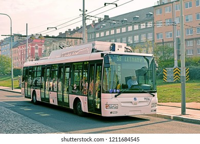 PRAGUE, CZECH REPUBLIC - OCTOBER 7, 2018 - SOR / Skoda 30 Tr trolleybus, with Skoda Electric equipment, on Prague experimental 58 line with opportunity charging