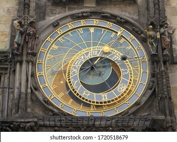 Prague / Czech Republic - October 8, 2015: Historical medieval astronomical clock in Old Town Square in Prague.