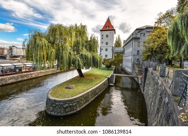 Prague, Czech Republic - October 9, 2017: Kampa Island, Prague, Czech Republic. Kampa island in the Vltava river is separated from Malá Strana by a narrow channel called the Devil's Stream.