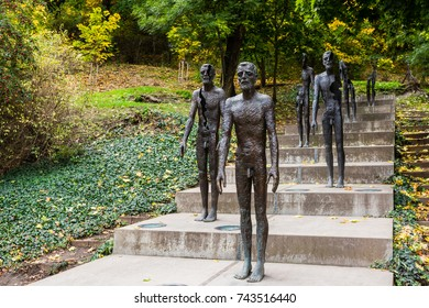 Prague, Czech Republic - October 9, 2017: Memorial to the Victims of Communism, a series of statues commemorating the victims of the communist era, located at the base of Petrin hill, Mala Strana area
