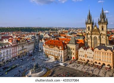 Prague, Czech Republic. Old Town, Staromestska square, Church of our Lady Tyn