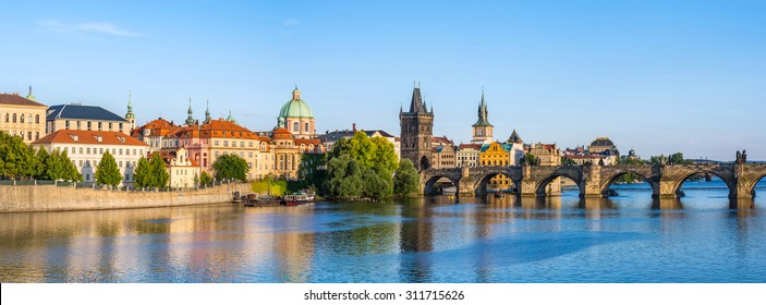 Prague Czech Republic, panorama city skyline at Charles Bridge