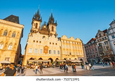Prague, Czech Republic, Semptember 29, 2017:  view of Old Town square in Prague in a beautiful autumn day, Czech Republic
