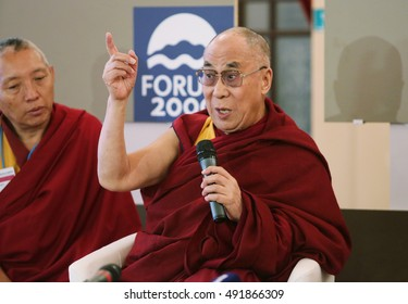 PRAGUE, CZECH REPUBLIC - SEPT 17, 2013: His Holiness the 14th Dalai Lama on press conference in Prefur FORUM 2000, SEPTEMBER 17, 2013 PRAGUE,