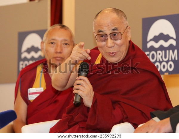 PRAGUE, CZECH REPUBLIC - SEPT 17, 2013: His Holiness the 14th Dalai Lama on press conference in Prefur FORUM 2000, SEPTEMBER 17, 2013 PRAGUE,