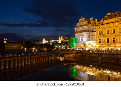 PRAGUE, CZECH REPUBLIC - SEPTEMBER 05, 2014; View on Hradcany with Cathedral of St. Vitus, Charles bridge and Museum of Bedrich Smetana, Prague. Czech Republic