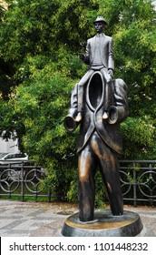 PRAGUE, CZECH REPUBLIC – SEPTEMBER 10, 2015: Statue of Franz Kafka