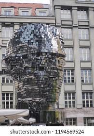 Prague, Czech Republic- September 10 2018- Franz Kafka head, Metamorphosis, Rotating Head