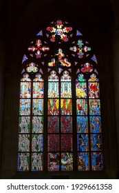 PRAGUE, CZECH REPUBLIC - SEPTEMBER 10, 2014:Stained glass window of St. Vitus Cathedral in Prague castle, Prague, Czech Republic
