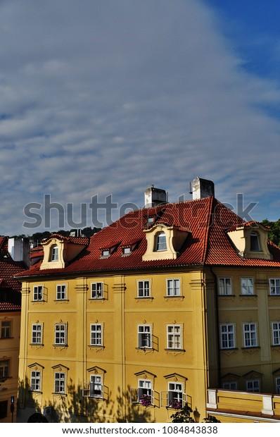 PRAGUE, CZECH REPUBLIC – SEPTEMBER 10, 2015: Exterior of European style building