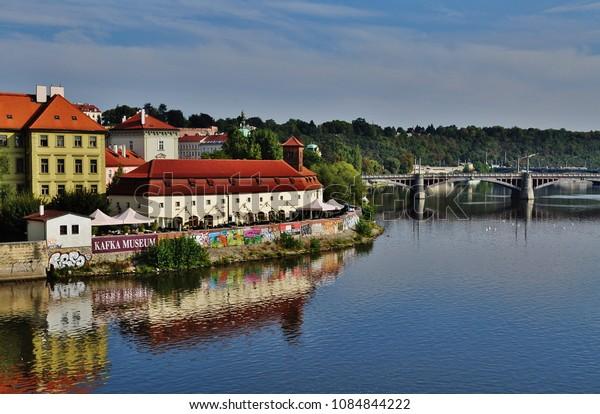 PRAGUE, CZECH REPUBLIC – SEPTEMBER 10, 2015: Manes Bridge and the city of Prague