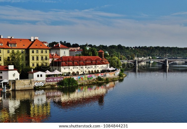 PRAGUE, CZECH REPUBLIC – SEPTEMBER 10, 2015: Manes Bridge and the city of Prague
