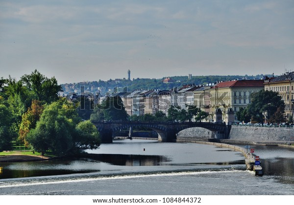 PRAGUE, CZECH REPUBLIC – SEPTEMBER 10, 2015: Legions' Bridge and the city of Prague