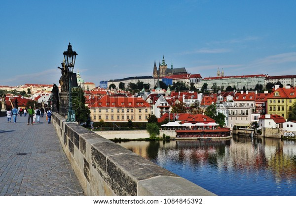 PRAGUE, CZECH REPUBLIC – SEPTEMBER 10, 2015: Prague Castle and Charles Bridge