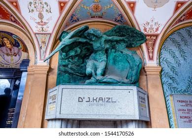 PRAGUE, CZECH REPUBLIC, SEPTEMBER 12 : grave tomb in Vysehrad cemetery, september 12, 2019 in Prague, czech republic