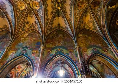 PRAGUE, CZECH REPUBLIC, SEPTEMBER 12 : interiors of Vysehrad basilica st peter and st paul, september 12, 2019 in Prague, czech republic