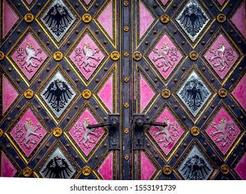 PRAGUE, CZECH REPUBLIC, SEPTEMBER 12 : exteriors of Vysehrad basilica st peter and st paul, september 12, 2019 in Prague, czech republic