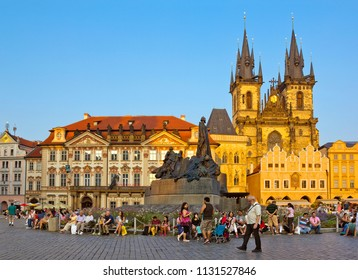 PRAGUE, CZECH REPUBLIC - SEPTEMBER 14, 2016: Old Town Square with medieval church of Our Lady before Tyn, Jan Hus Memorial and people