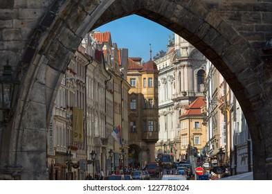 Prague, Czech Republic, September 17, 2018. City view of the street near Charles Bridge